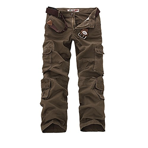 AYG Herren Cargo Hose Baumwolle Militär Hose(Brown,36)