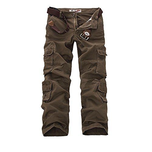 AYG Herren Cargo Hose Baumwolle Militär Hose(Brown,34)