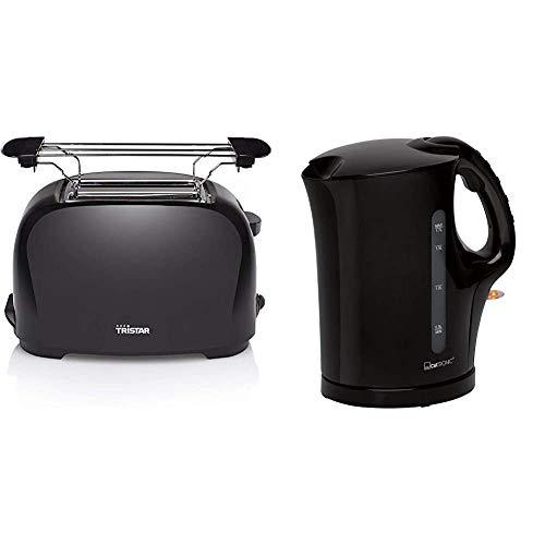 Tristar BR-1025 Toaster - 6 einstellbare Bräunungsstufen mit Brötchenaufsatz & Clatronic WK 3445 Wasserkocher, 1,7 Liter, 2 außenliegende Wasserstandsanzeigen, Edelstahlheizelement, schwarz
