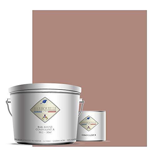 Bar-RESINE - Pintura / resina epoxi de dos componentes, en fase acuosa para azulejos, declaraciones, laminados, PVC, etc. – 3 kg BRILLANT – 30 m2 – rojo y rosa – En coche Simone