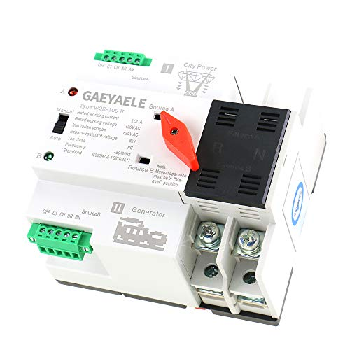 GAEYAELE W2R Mini ATS 2P Automatic Transfer Switch Electrical Selector Switches Dual Power Switch Din Rail Type ATS 63A 100A (W2R 2P 25A)
