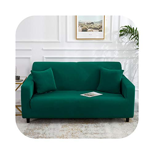 HCIUUI Solid Color Sofa Covers for Living Room Polyester Modern Elastic Corner Couch Cover Slipcovers Chair Protector 1/2/3/4 Seater-Dark Green 2.0-4-Seat 235-300 cm