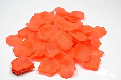 100 petales de Roses en Fibre DE Tissus Compact Plusieurs Coloris pour Deco de Table Mariage (Orange)