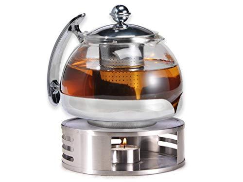 Gravidus Teekanne Glas mit Siebeinsatz und Stövchen - 1,2 Liter - Teewärmer & Teebereiter - Tee...