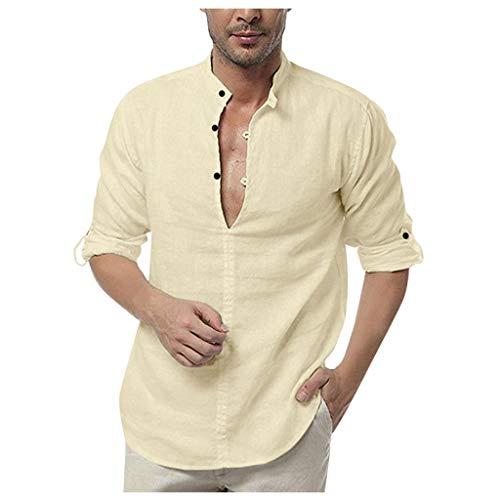 FONMA Men's Loose Cotton Blouse Blend Solid Color Shirts Button Long Sleeve Tops Khaki