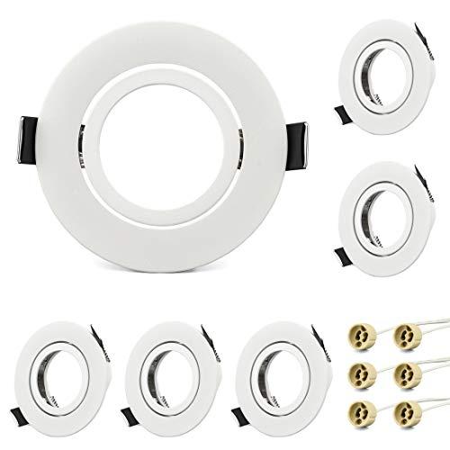 KYOTECH Einbaustrahler Rahmen GU10 Set Weiß Schwenkbar Runder Einbaurahmen LED Strahler inkl. GU10 Fassung für Halogen Leuchtmittel LED-Modul MR16, LED Spot Einbaurahmen 6er Set