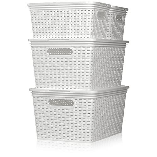 Hausfelder Aufbewahrungsbox Aufbewahrungskorb mit Deckel | 8-teiliges Ordnungsboxen Set | Rattan Design Körbe (Weiß)
