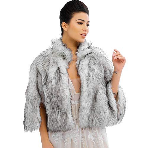 Nicute Women's Fur Wraps and Shawls Faux Rabbit Fur Scarves Bridal...