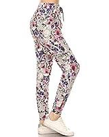 Leggings Depot JGA-R662-XL Cherish Rose Print Jogger Pants w/Pockets, X-Large