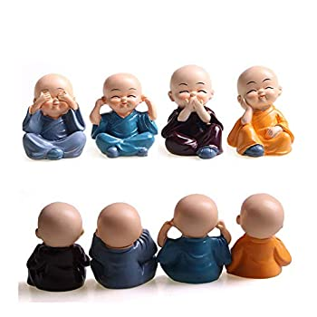 4Pcs/Set The Little Monk Figurines for Car Interior Display Decoration Home Decor