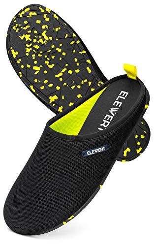 ELEWERT® – Hausschuhe für Herren/Damen - Natural-LITE - Pantoffeln/Slipper – für Sommer und Winter, mit extra Komfortabel, atmungsaktiv, rutschfeste Gummisohle - Schwarz/Gelb, EU 45