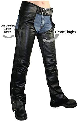 Xelement B7556 Womens Black Braided Zippered Leather Chaps 6
