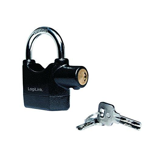 LogiLink veiligheidsslot met alarmfunctie voor gebruik met of zonder alarm, 1 stuk, zwart Hangslot.
