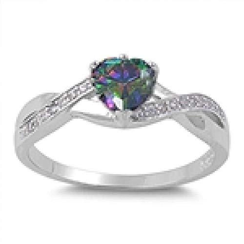 kleine Schätze - Damen-Ring / Verlobungsring - 925 Sterlingsilber -Regenbogen Topas Zirkonia Herz