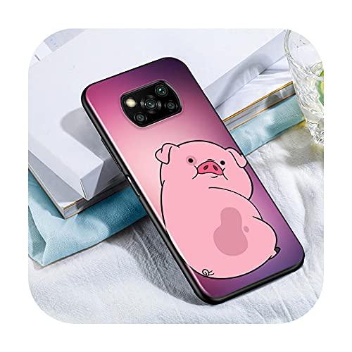 Phone cover Lindo Kawai Pig Para Xiaomi Poco X3 Nfc M3 M2 X2 F3 F2 Pro C3 F1 Mi Play Mix 3 A2 A1 6X 5X Negro Teléfono Case Style 04-Para Xiaomi Poco F3