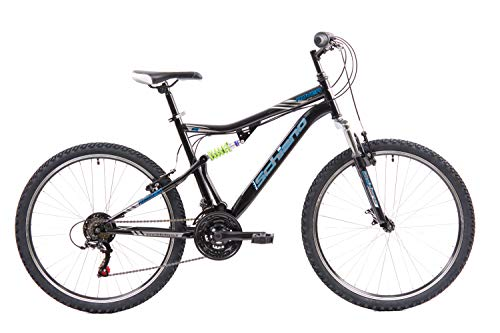 F.lli Schiano Rover Bicicleta de Doble suspensión, Adulto Unisex, Azul Negro, 26