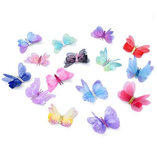 Vathery 15 Stücke Glitzer Schmetterling Haarspangen 3D Funkeln Haarklammer für Mädchen Damen Haarschmuck