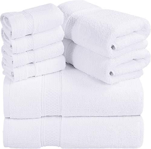 Utopia Towels - 700 GSM Juego de toallas de 8 piezas; 2 toallas de baño, 2 toallas de mano y 4 paños de ducha - Algodón - Lavable a máquina, calidad del hotel (blanco)