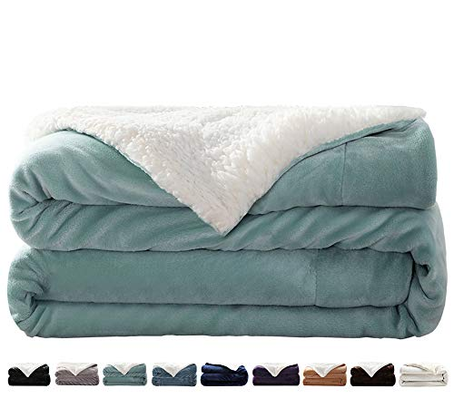 LIANLAM Sherpa Fleece Blanket King Size Dual Sided Blanket Super Soft and Warm Fuzzy Plush Cozy Luxury Big Bed Blankets Microfiber (Turquoise, 104'x90')