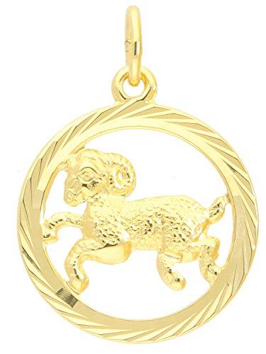 Sternzeichen Anhänger Widder (Ohne Kette) Gelbgold 333 Gold (8 Karat) Ø 15mm Rund Tierkreiszeichen Horoskop Sternbild Goldanhänger Gavno A-04433-G302-Wid