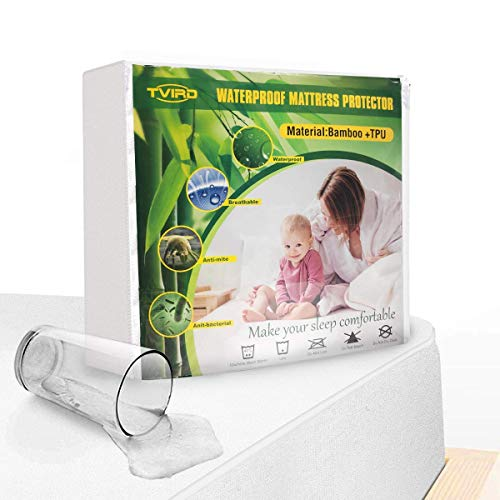 Tvird Mattress Protector Double Bed Fitted, Waterproof Mattress Protector Double Mattress Cover Extra Deep Breathable Bamboo Fiber and TPU Waterproof layer Anti-Mite (Double-30Cm Deep)