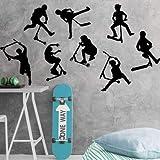 Juego de 8 pegatinas de pared para patinete de acrobacias para habitación de niños, patinete o bicicleta, decoración de vinilo