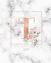 """Weekly & Monthly Planner 2019: Rose Gold Monogram Letter T Marble with Pink Flowers (7.5 x 9.25"""") Vertical at a glance Personalized Planner for Women Moms Girls and School"""