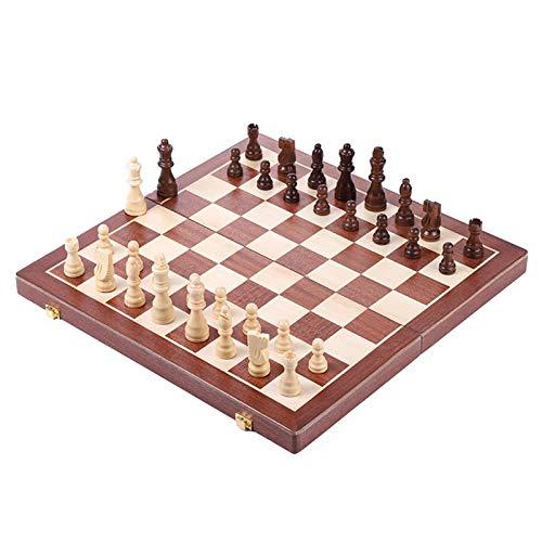 Juego de ajedrez y damas 2 en 1 para adultos y niños, tablero de ajedrez de madera plegable grande de 50x50 cm y piezas de ajedrez, juguete clásico de juego de mesa familiar