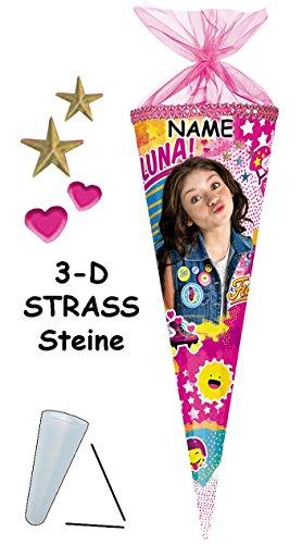 alles-meine.de GmbH mit 3-D Glitzer Effekt - Strass Steinen ! - Schultüte -  Disney - Soy Luna  - 85 cm - 12 eckig - incl. Name - Organza Abschluß - Zuckertüte - Nestler - mit ..
