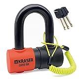 KRASER KR50 Candado Homologado Sra Antirrobo Disco Moto Mini U Sólida Ø18 + Cable Recordatorio, 3 Llaves, Negro y Naranja