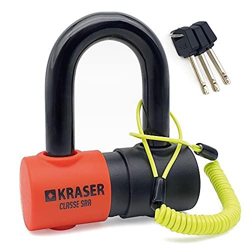 KRASER KR50 Antivol Bloque Disque Blindé Mini U Solide Ø18 SRA Homologué, Moto Scooter, Double Verrouillage, Polyvalent, 3 Clés + Câble de Rappel, Noir
