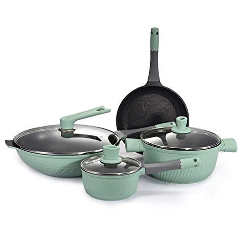 LEPSJGC Set de utensilios de cocina Sopa de sopa Panar Pan Wok Milk Pot Cocina Cocina Cocinar Pot Set Inducción Cocina antiadherente Pan Sombra Cacerola Casserole Hotpot