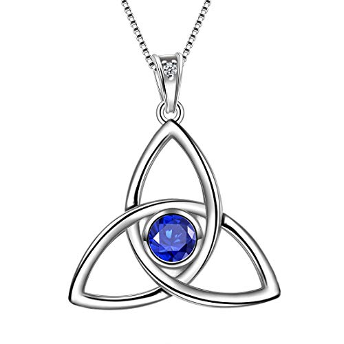 Aurora Tears Celtic Knot Necklace 925 Sterling Silver Women Celtic Triple Pendant Crystal Cubic Zirconia Jewelry DP0144S