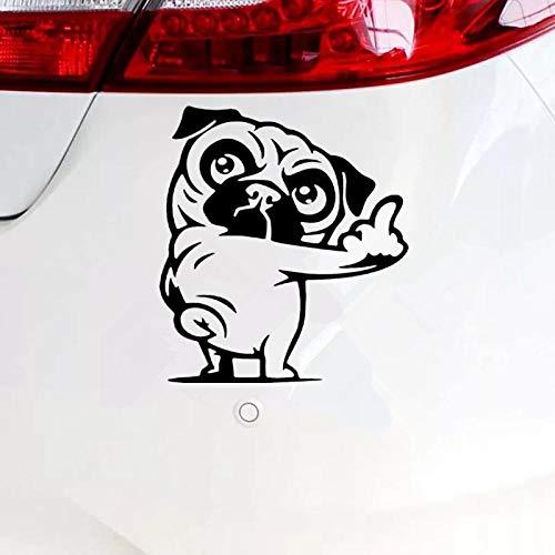 4 PCS, Unwesentlicher Mops Reflektierende Lustige Autoaufkleber Vinyl Aufkleber Silber/Schwarz Für Auto Auto Aufkleber Styling, 15X16,7Cm