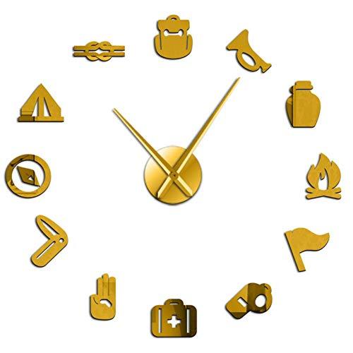 Camping Scouting DIY Reloj de Pared Gigante Junior Kids Scout Campfire Reloj de Pared Exclusivo Big Time Clock Agujas Grandes Efecto de Espejo Color Dorado 47 Pulgadas