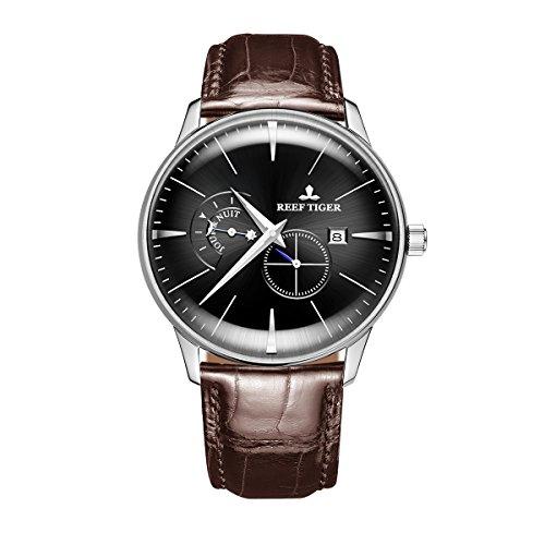 REEF TIGER Herren Uhr analog Automatik mit Leder Armband RGA8219-YBS
