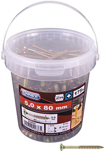 Connex Universalschrauben 5,0 x 80 mm - 175 Stück im Set - Senkkopf - PZ Pozidriv-Antrieb - Teilgewinde - Gelb verzinkt / Schrauben-Set / Schrauben-Eimer / B30045