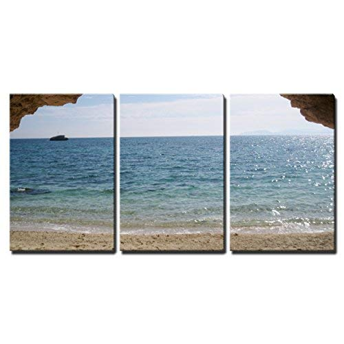 "wall26 - 3 Piece Canvas Wall Art - Paradise Beach, Turquoise Sea and Cave in Sardegna, Italy - Modern Home Decor Stretched and Framed Ready to Hang - 24""x36""x3 Panels"