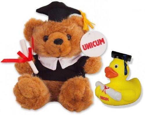 UNICUM Examensbär und StudEnte | Geschenk-Set | Geschenk für Student und Studentin | Uni Abschluss | Teddybär | Quietscheente