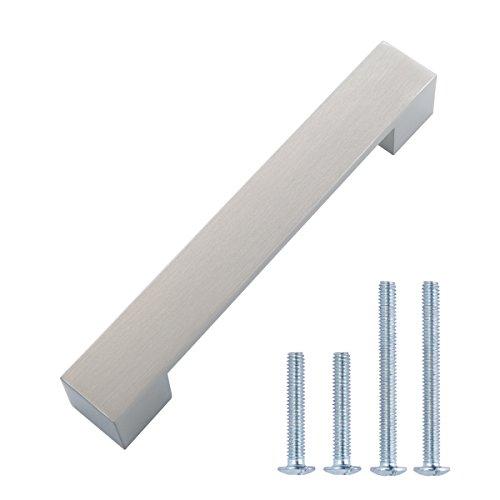 Amazon Basics - Tirador moderno y corto para armario, 16,2 cm de longitud (12,7 cm de centro del orificio), Níquel satinado, Paquete de 10