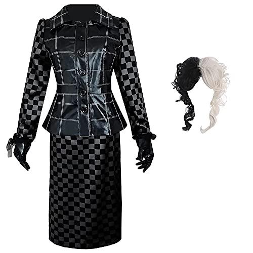 Disfraz de Cruella Deville para Mujer, Vestido de Cosplay de Cruella Evil Madame con Guantes de Peluca, Conjunto Completo de Trajes para nias de Halloween