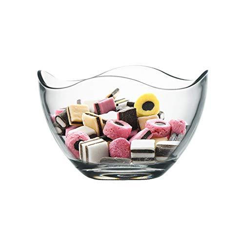 XZPENG Clear Glass Fruit Bowls, Glass Salad Bowls Candy Bowls, Beautiful Wavy Design Glass Bowl For Salads, Desserts Fruit And More, 2-Piece Soup, fruit, dessert