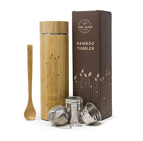 Vireo Bloom Botella Aislante Termico con Colador de Te - Taza Termica Taza de Bambu - Con Colador de Te y Tapa Botella de Acero Inoxidable - Eco Termo Maquina Fabricante de Te