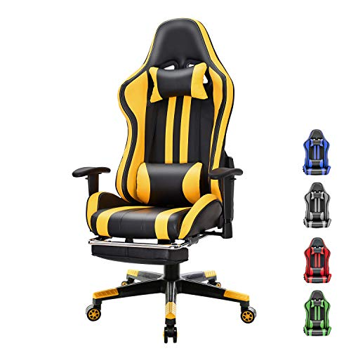 Soontrans Silla Gaming con Reposapies Ergonómica Silla Game