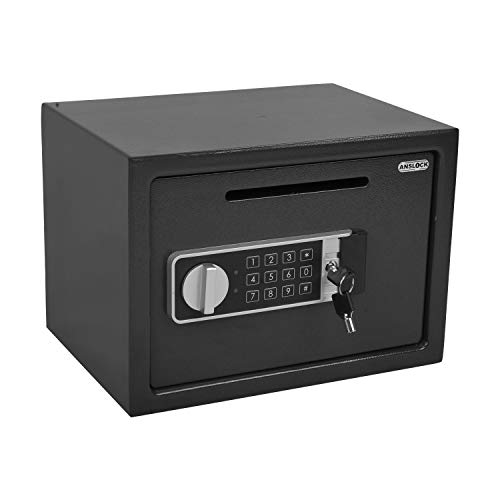 ANSLOCK Drop Slot Safes Depository Safe, Security Keypad Cabinet Safes,0.58 Cubic Ft Home Hotel security Safe Box with a Front Drop Slot for Cash, Bank Slips, Bills