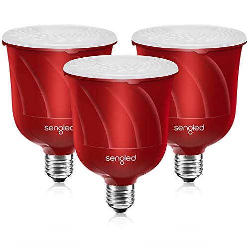 Sengled Pulse Satellite LED Smart Bulb with JBL Bluetooth Speaker, Requires Pulse Starter Kit, App Controlled Up to 8 BR30 LED Light Bulbs, E26 Base, Candy Apple Red, 3 Pack