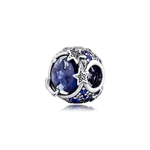 Diy Blue Sparkling Stars Charm 925 Sterling Silver Beads For Jewelry Making Fit Charms Bracelet Christmas Fine Gift For Women