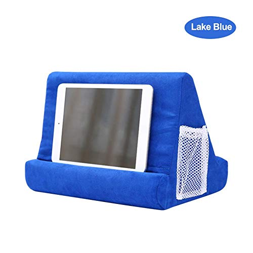 SmallPocket Tablet Holder, Tablet Cushion, Soft Multi-Angle Pillow, Side Pockets, Storage Rubble, Suitable for Tablets, Electronic Players Lake Blue