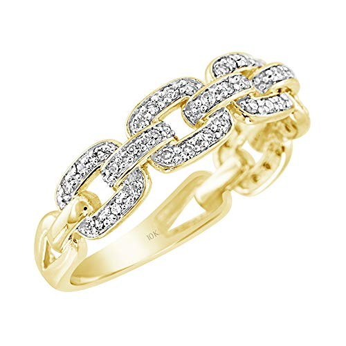 Brilliant Expressions 10K Yellow Gold 1/5 Cttw Conflict Free Diamond Squared Chain Link Fashion Ring (I-J Color, I2-I3 Clarity), Size 7