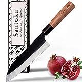 küchenspecht Santoku Messer - 17cm Klinge im einmaligen Design - japanisches Messer mit edlem Kirschholzgriff - für leidenschaftliche Hobbyköche